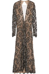 Alessandra Rich Ruched Guipure Lace Gown Black