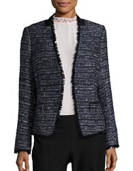 Ivanka Trump Tweed Lace Trimmed Blazer Navy