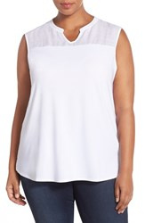 Plus Size Women's Nic Zoe Sleeveless Jersey And Linen Top