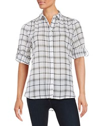 Lord And Taylor Petite Cotton Plaid Sportshirt White