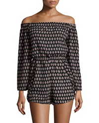 Romeo And Juliet Couture Printed Chiffon Off The Shoulder Romper Black