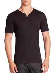 The Kooples Leather Trim Solid Cotton Tee Black