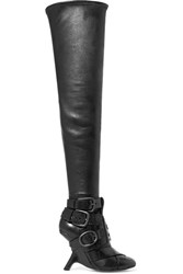 Tom Ford Buckled Leather Over The Knee Boots Black