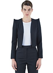 Saint Laurent Pointed Shoulder Cropped Tuxedo Jacket Black
