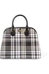 Tory Burch Robinson Leather Trimmed Plaid Basketweave Tote Black