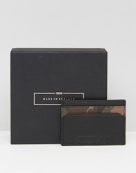 Asos Made In England Leather Card Holder In Camo Black Khaki