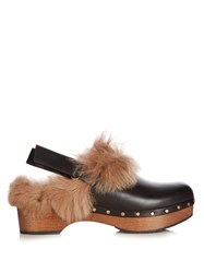 Gucci Amstel Fur Slingback Clogs Black