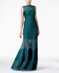 Tadashi Shoji Lace Inset Evening Gown Starry Night