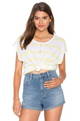 Sundry Jersey Stripes Square Tee Yellow