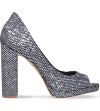 Kg By Kurt Geiger Impulse Crushed Glitter Peep Toe Courts Pewter