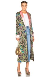 Etro Pearl Reversible Silk Robe In Green Floral Green Floral