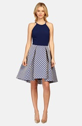 Phoebe Couture Mixed Media Fit And Flare Dress Blue Multi