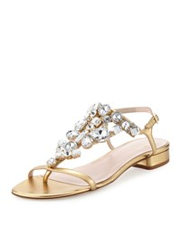 Kate Spade Fedra Jeweled Leather Sandal Old Gold Women's