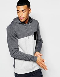Asos Cut And Sew Hoodie With Faux Leather Pocket Grey
