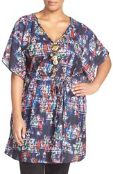 Plus Size Women's City Chic 'Multi Moroccan' Print Tie Waist Necklace Tunic Midnight