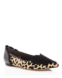 Isa Tapia Clement Calf Hair Pointed Toe Heart Flats Black Leopard