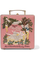 Olympia Le Tan Sleeping Beauty Embroidered Cotton Canvas And Leather Tote Pink