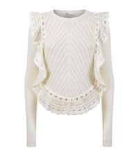 Red Valentino Knitted Ruffle Sweater Female Ivory