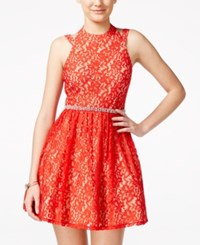 City Triangles City Studios Juniors' Lace Halter Jewel Waist A Line Dress Red