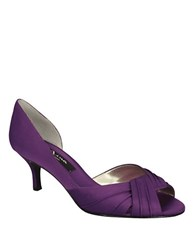 Nina Culver Satin Open Toe Pumps Purple
