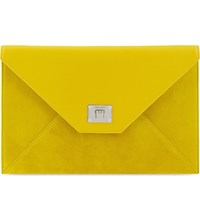 Jimmy Choo Rosetta Mini Leather And Suede Pouch Pop Yellow