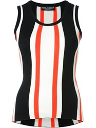 Dolce And Gabbana Striped Ribbed Tank Top Black