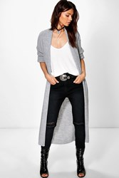Boohoo Rib Knit Shawl Collar Maxi Cardigan Grey