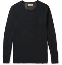 Burberry London Ribbed Cotton And Wool Blend Henley T Shirt Black