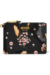 Moschino Printed Patent Leather Pouch Black
