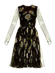 Dolce And Gabbana Margherite Daisy Print Long Sleeve Chiffon Dress
