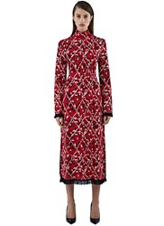 Proenza Schouler Long Jacquard Tweed Knit Dress Red