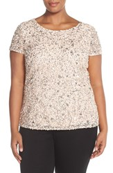 Plus Size Women's Adrianna Papell Beaded Mesh Top Blush