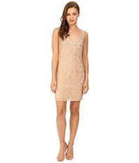 Adrianna Papell Sleeveless Beaded Cocktail Dress Champagne Women's Dress Gold