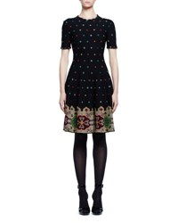Alexander Mcqueen Pixelated Short Sleeve Knit Dress Black