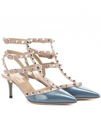 Valentino Rockstud Patent Leather Kitten Heel Pumps Blue