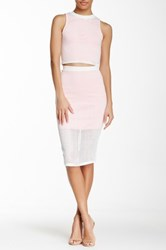 Blvd Perforated Pencil Skirt White