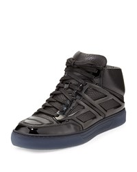 Pebbled Calfskin High Top Sneaker Alejandro Ingelmo Black
