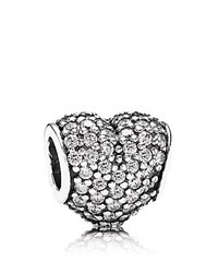 Pandora Design Pandora Charm Sterling Silver And Cubic Zirconia Clear Pave Heart Moments Collection Silver Clear