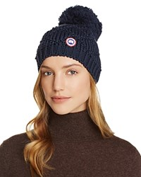 Canada Goose Merino Wool Beanie With Oversized Pom Pom Ink Blue
