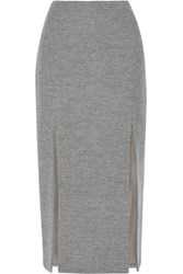 Wes Gordon Split Wool Blend Midi Skirt Anthracite