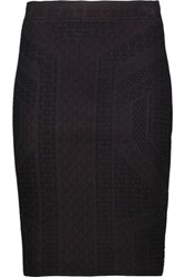 Line Jacquard Knit Skirt Black