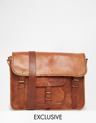 Reclaimed Vintage Leather Messenger Bag Tan