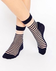 Asos Bretton Stripe Sheer Ankle Socks Navy