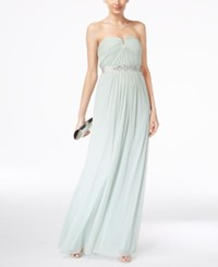 Adrianna Papell Strapless Ruched Gown Mint