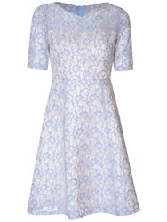 True Decadence Sweetheart Lace Skater Dress Blue White