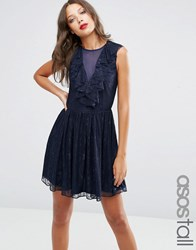 Asos Tall Ruffle Front Lace Mini Skater Dress Navy