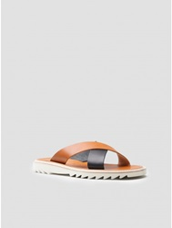 Oak Crossover Bi Colored Sandal In Cuoio Nero Oak