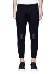 Neil Barrett Eco Leather Knee Cropped Biker Jogging Pants Black