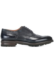 Santoni Brogue Detail Oxford Shoes Black