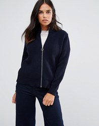 Ymc Merino Wool Knit Bomber Zip Cardigan Navy Blue